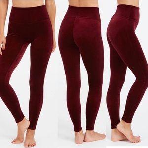 Spanx Burgandy Red Velvet High Waist Leggings